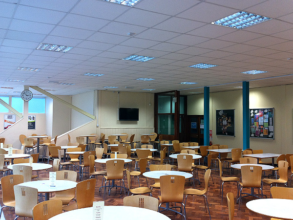 Commercial Electrical Services - Canteen T5 Lighting with Occupancy Detectors - Energy Saving Solutions