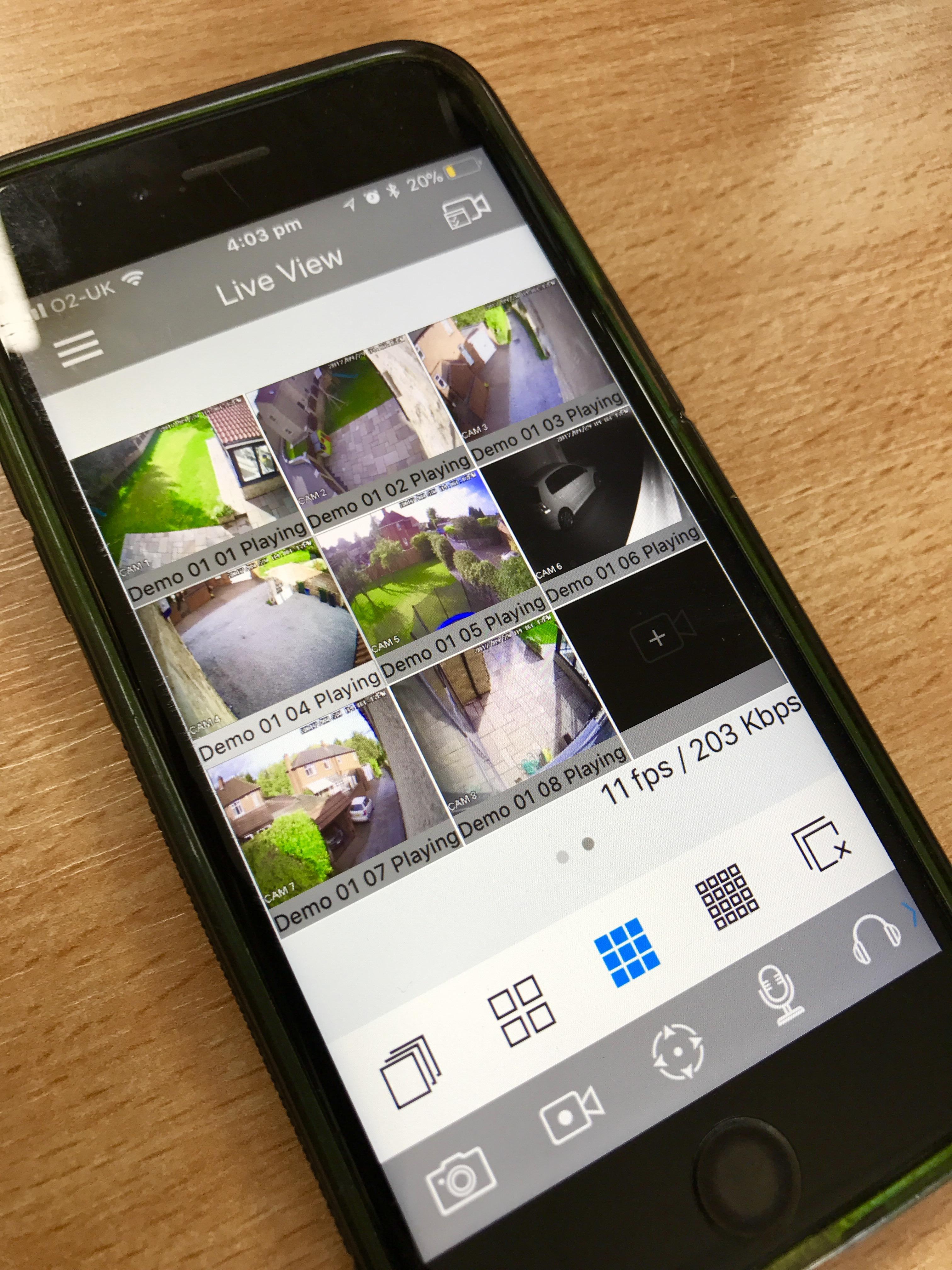CCTV camera footage on phone