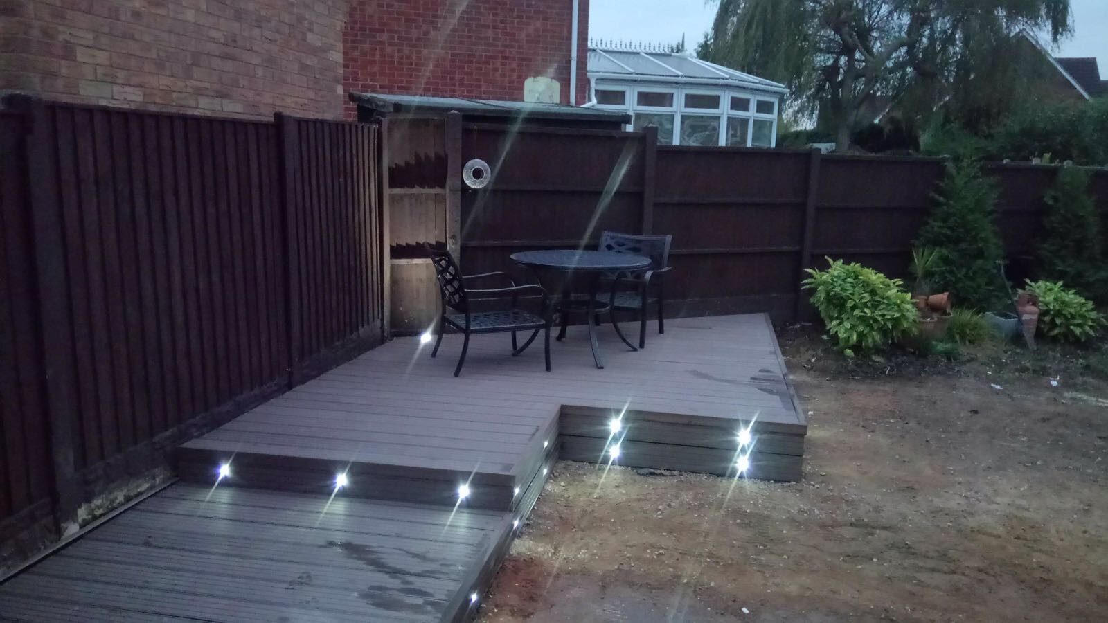 Outdoor lighting in decking